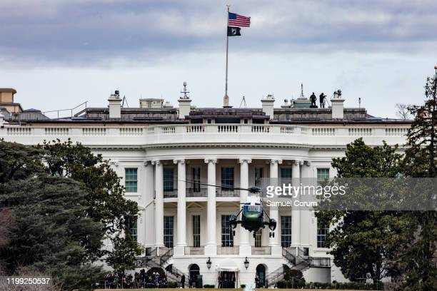 President Donald Trump departs the White House in Marine One on February 7 2020 in Washington DC President Trump is heading to Charolette NC where he...