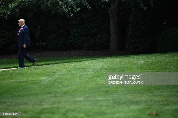 US President Donald Trump departs the White House in Washington DC on July 17 2019 Trump travels to Greenville North Carolina for a Make America...