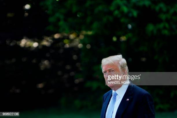 US President Donald Trump departs the White House in Washington DC on May 15 2018 Trump is traveling to Walter Reed National Military Medical Center...