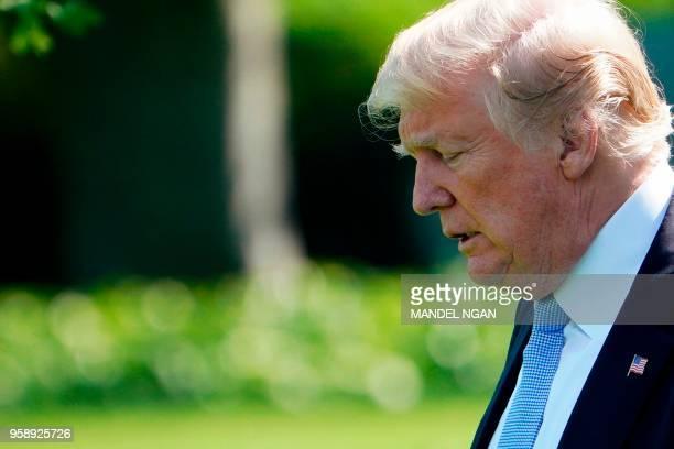 President Donald Trump departs the White House in Washington DC on May 15 2018 Trump is traveling to Walter Reed National Military Medical Center in...