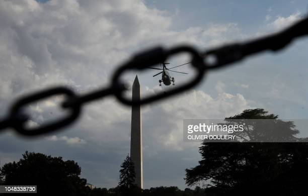 President Donald Trump departs the White House on board Marine One en route to Council Bluffs Iowa for a 'Make America Great Again' rally on October...