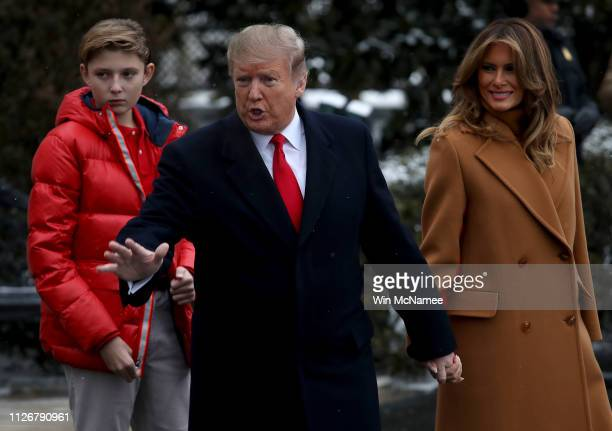 S President Donald Trump departs the White House with first lady Melania Trump and their son Barron February 01 2019 in Washington DC Trump is...