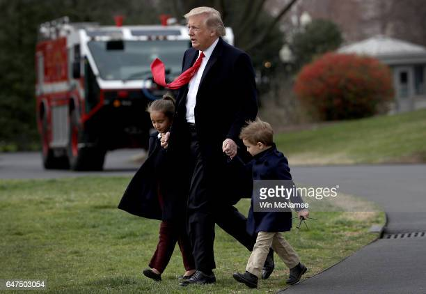 S President Donald Trump departs the White House with his grandchildren Arabella and Joseph on March 3 2017 in Washington DC Trump was scheduled to...