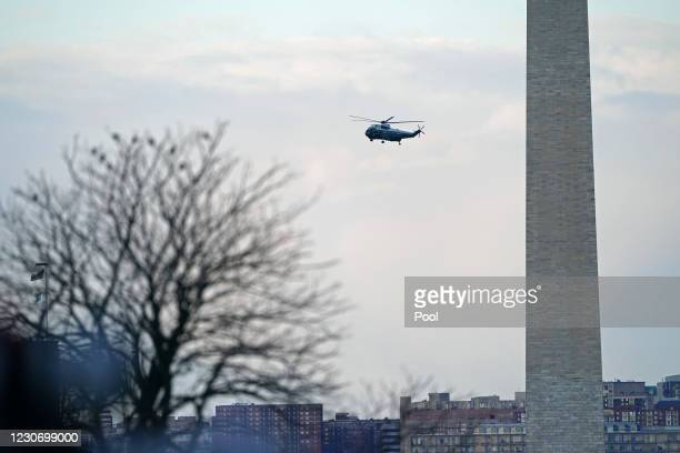 President Donald Trump departs Washington on Marine One before the inauguration ceremony for U.S. President-elect Joe Biden and Vice President-elect...