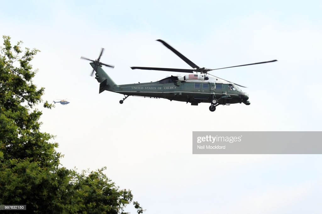 U.S. President Donald Trump departs Winfield House for Sandhurst Miltary Academy on July 13, 2018 in Camberley, England. The US President visits Sandhurst Military Academy today on the second day of his UK visit. He will meet Theresa May for talks at Chequers and then later take tea with HM Queen at Windsor Castle before departing for Scotland on July 13, 2018 in London, England.