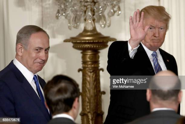 S President Donald Trump departs with Israel Prime Minister Benjamin Netanyahu following a joint news conference at the East Room of the White House...