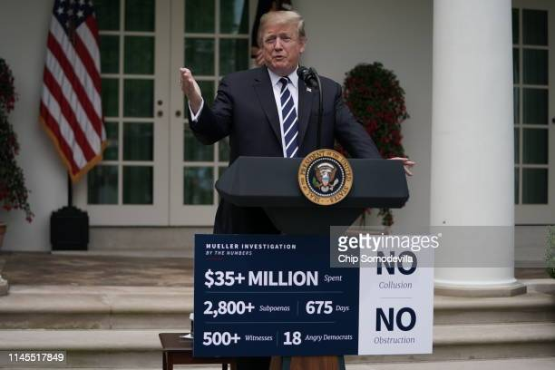 President Donald Trump discusses Robert Mueller's investigation into Russian interference into the 2016 presidential election in the Rose Garden at...