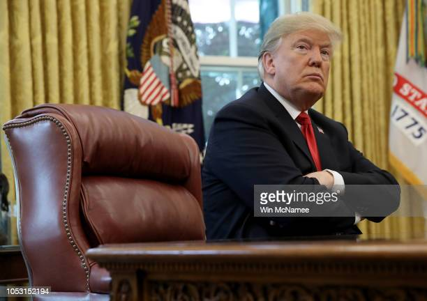S President Donald Trump discusses the potential impact of Hurricane Michael during a meeting with Homeland Security Secretary Kirstjen Nielsen and...