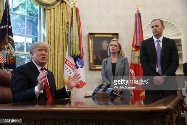 S President Donald Trump discusses the potential impact of Hurricane Michael with Homeland Security Secretary Kirstjen Nielsen and FEMA Administrator...