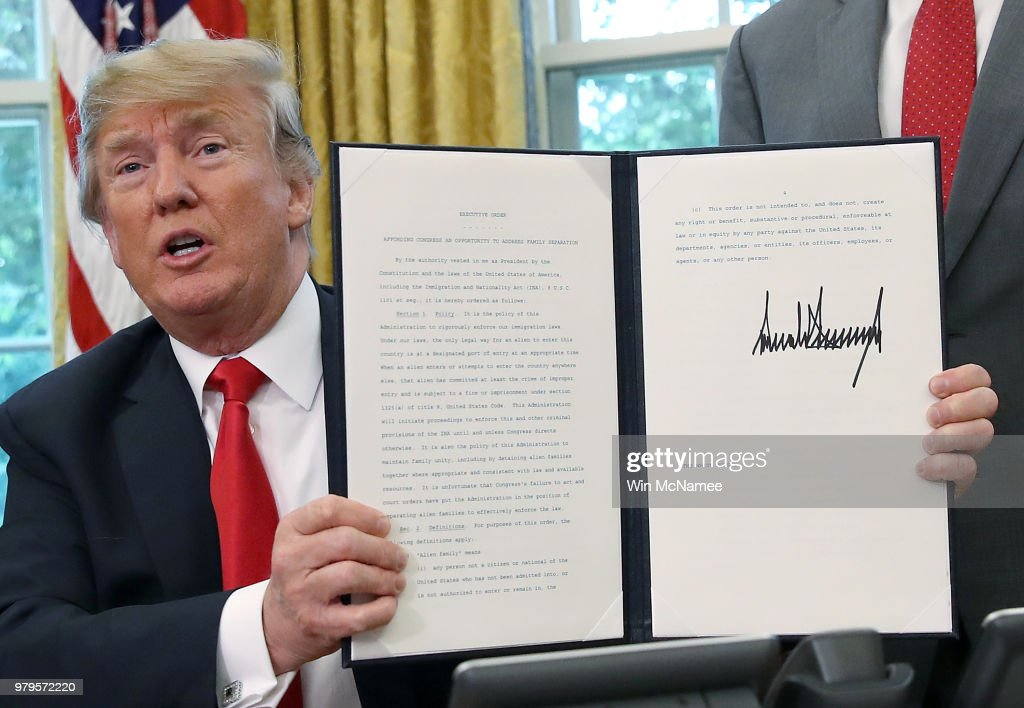 President Trump Signs Executive Order Ending Family Separations At Border : News Photo
