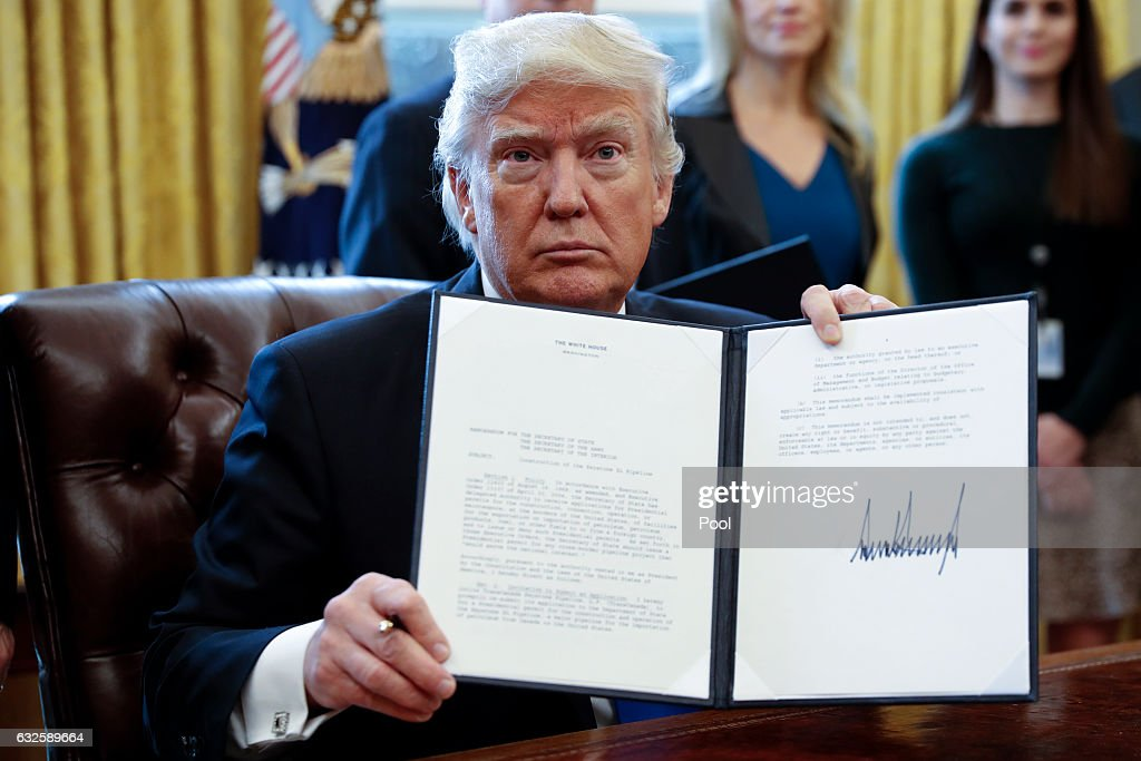 President Trump Signs Executive Orders On Oil Pipelines : News Photo