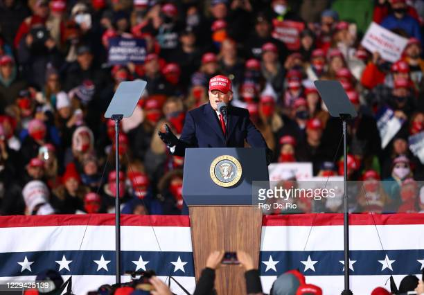 President Donald Trump Donald speaks during a campaign rally on November 2, 2020 in Traverse City, Michigan. President Trump and former Vice...