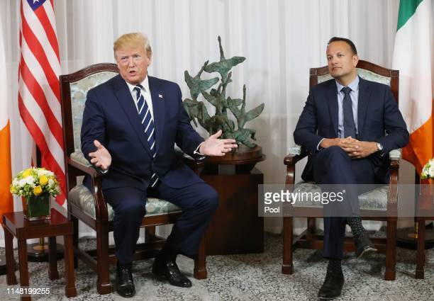 President Donald Trump during a bilateral meeting with Taoiseach Leo Varadkar at Shannon airport on June 5 2019 in Shannon Ireland President Trump...