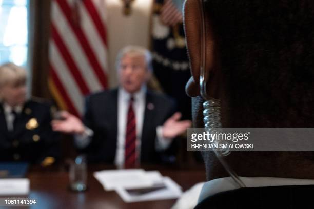US President Donald Trump during a meeting about border security in the Cabinet Room of the White House January 11 2019 in Washington DC