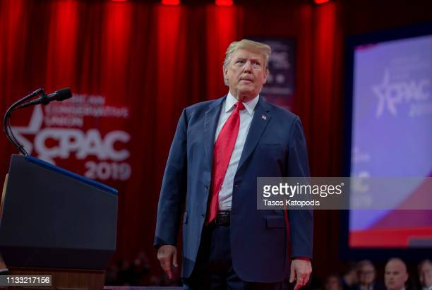 US President Donald Trump during CPAC 2019 on March 02 2019 in National Harbor Maryland The American Conservative Union hosts the annual Conservative...