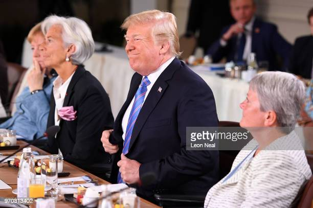 President Donald Trump during the Gender Equality Advisory Council working breakfast on the second day of the G7 Summit on June 9 2018 in Quebec City...