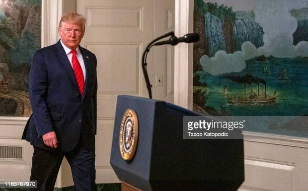 President Donald Trump enters the Diplomatic Reception Room of the White House to make a statement October 27, 2019 in Washington, DC. President...