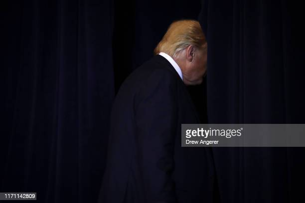President Donald Trump exits a press conference on the sidelines of the United Nations General Assembly on September 25 2019 in New York City Speaker...