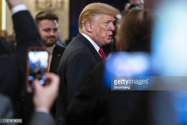 US President Donald Trump exits after an event with wounded warriors at the White House in Washington DC US on Thursday April 18 2019 Trumpsaid he's...