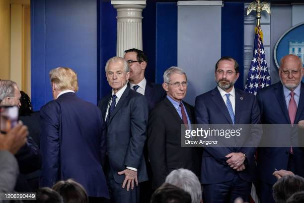 S President Donald Trump exits after speaking and not taking any questions during a press briefing with the White House Coronavirus Task Force team...