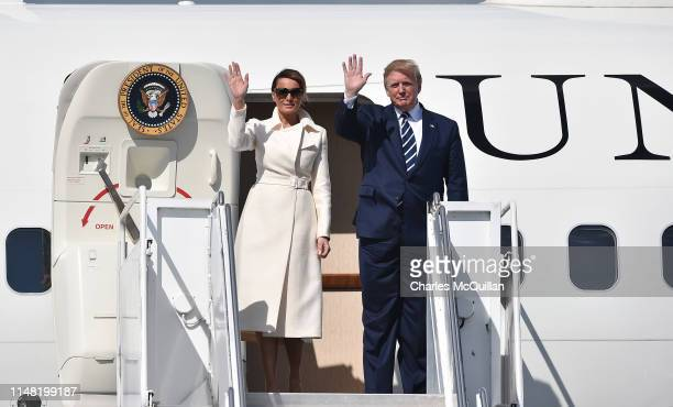 President Donald Trump exits Air Force One alongside First Lady Melania Trump after arriving at Shannon airport on June 5 2019 in Shannon Ireland...
