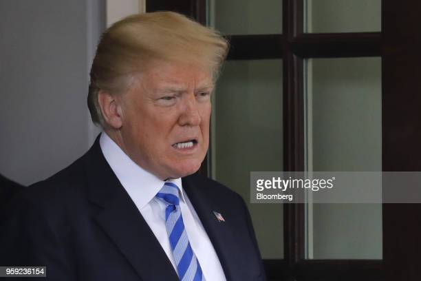US President Donald Trump exits following a meeting with Shavkat Mirziyoev Uzbekistan's president not pictured at the White House in Washington DC US...
