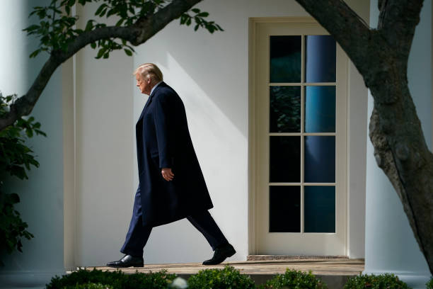 President Donald Trump exits the Oval Office and walks to Marine One on the South Lawn of the White House on October 1, 2020 in Washington, DC....