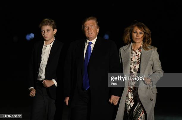 S President Donald Trump first lady Melania Trump and Barron Trump arrive back at the White House February 18 in Washington DC