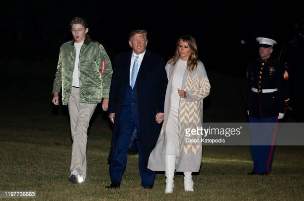 S President Donald Trump first lady Melania Trump and Barron Trump arrive at the White House on January 05 2020 in Washington DC The Trumps were...