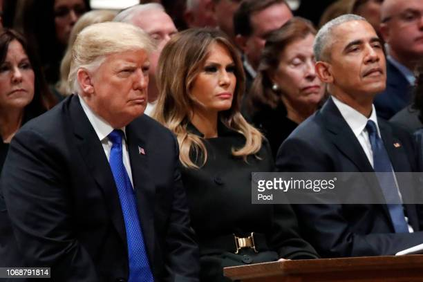 President Donald Trump first lady Melania Trump and former President Barack Obama listen as former Canadian Prime Minister Brian Mulroney speaks...