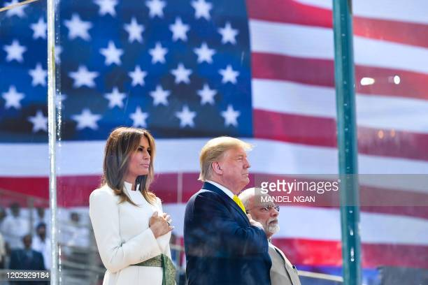 President Donald Trump, First Lady Melania Trump and India's Prime Minister Narendra Modi attend 'Namaste Trump' rally at Sardar Patel Stadium in...