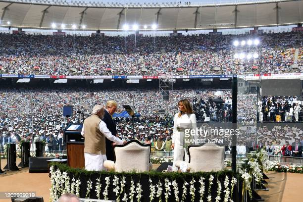 US President Donald Trump First Lady Melania Trump and India's Prime Minister Narendra Modi arrive to attend 'Namaste Trump' rally at Sardar Patel...