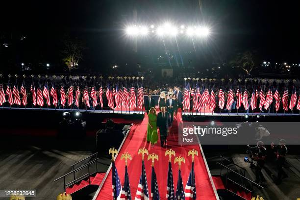 President Donald Trump, first lady Melania Trump and members of the family leave the stage after Trump delivered his acceptance speech for nomination...
