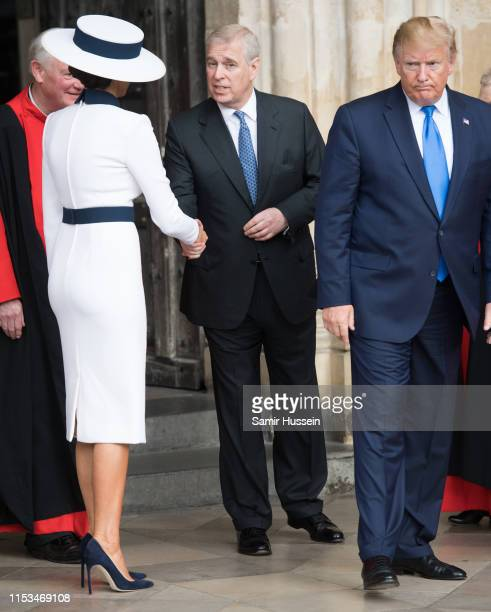 President Donald Trump First Lady Melania Trump and Prince Andrew Duke of York visit Westminster Abbey on June 03 2019 in London England President...
