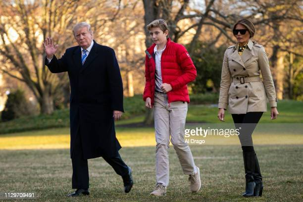 S President Donald Trump first lady Melania Trump and their son Barron Trump arrive on the South Lawn of the White House on March 10 2019 in...