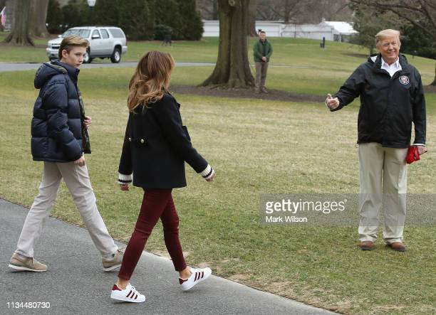 S President Donald Trump First lady Melania Trump and their son Barron Trump depart from the South Lawn of the White House on March 8 2019 in...