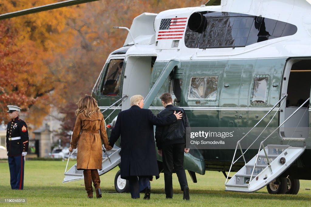 President Trump And First Lady Melania Depart White House En Route To Florida : News Photo