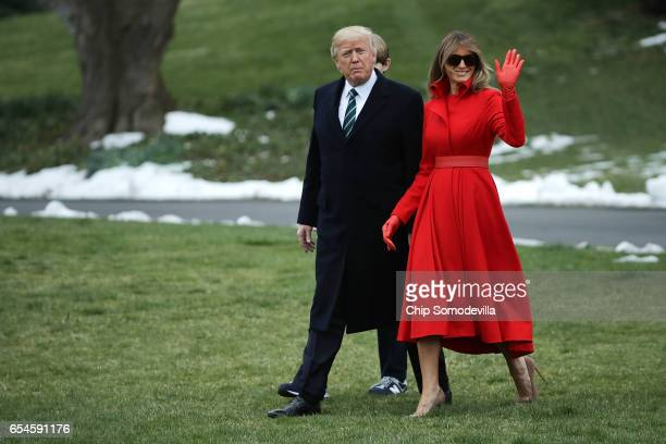 S President Donald Trump first lady Melania Trump and their son Barron Trump depart the White House March 17 2017 in Washington DC The first family...