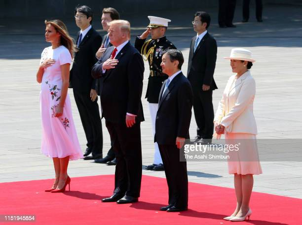 President Donald Trump, First Lady Melania Trump attend the welcome ceremony with Emperor Naruhito and Empress Masako at the Imperial Palace on May...