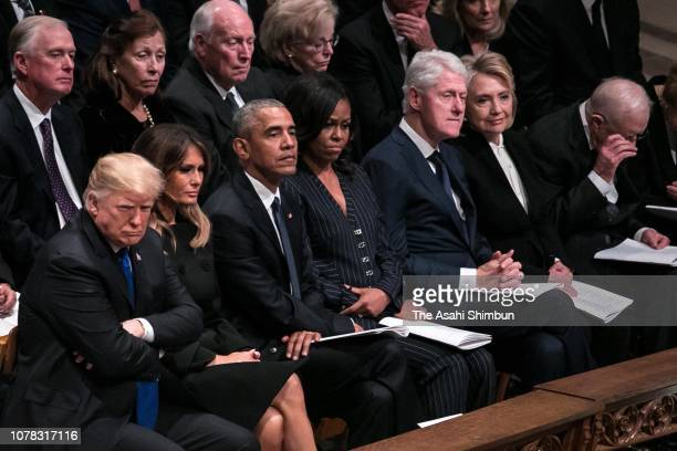 President Donald Trump first lady Melania Trump former President Barack Obama former first lady Michelle Obama former President Bill Clinton former...