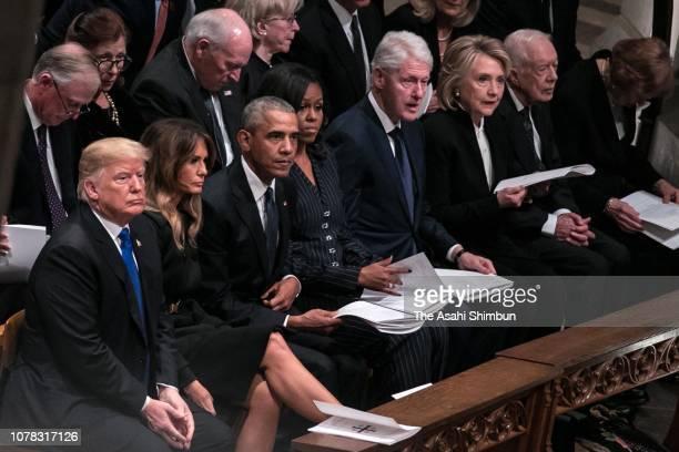 President Donald Trump first lady Melania Trump former President Barack Obama former first lady Michelle Obama former President Bill Clinton former...