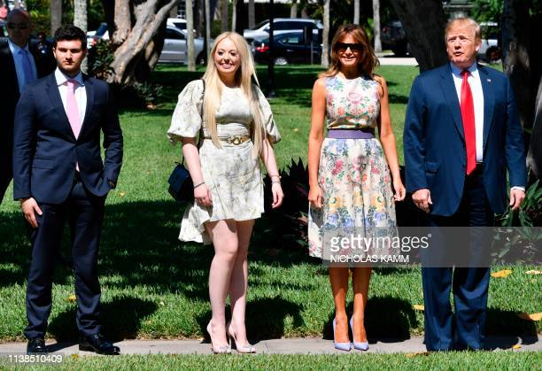 US President Donald Trump First Lady Melania Trump his daughter Tiffany Trump and Tiffany's boyfriend Michael Boulos arrive at the BethesdabytheSea...