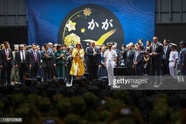 S President Donald Trump First Lady Melania Trump Japan's Prime Minister Shinzo Abe and his wife Akie Abe aboard Japan Maritime SelfDefense Force's...