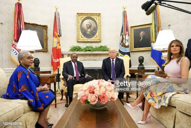 US President Donald Trump First Lady Melania Trump meet with Kenya's President Uhuru Kenyatta and his wife Margaret Kenyatta in the Oval Office of...