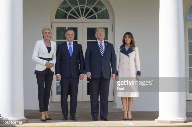 S President Donald Trump first lady Melania Trump President Andrzej Sebastian Duda of Poland and his wife Agata KornhauserDuda pose after Duda's...