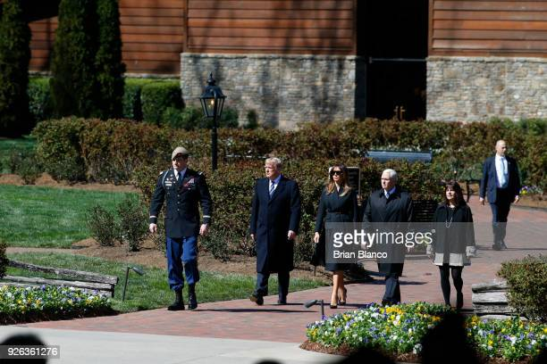 US President Donald Trump first lady Melania Trump US Vice President Mike Pence and his wife second lady Karen Pence arrive to join mourners paying...