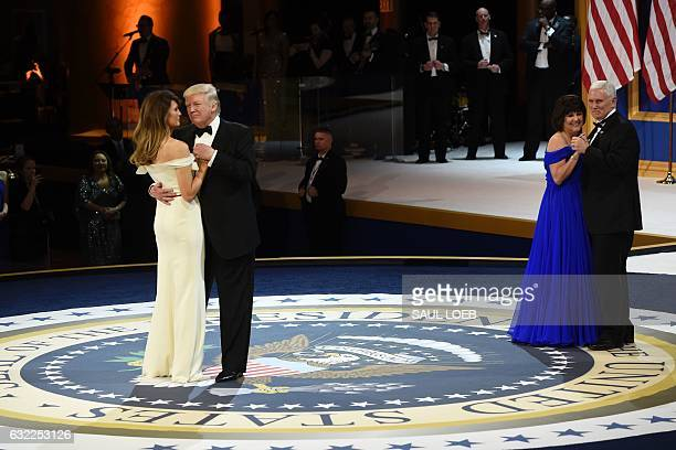 President Donald Trump, First Lady Melania Trump, Vice President Mike Pence and his wife Karen danceduring the Salute to Our Armed Services Inaugural...