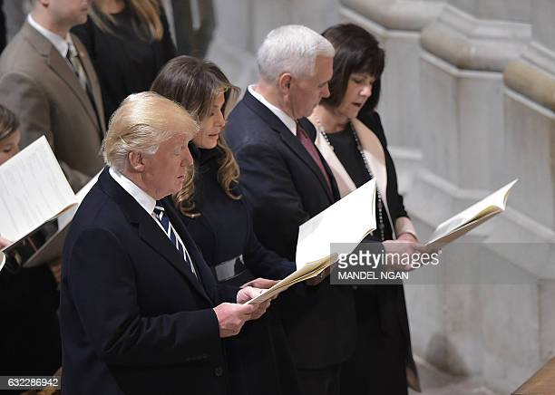 US President Donald Trump First Lady Melania Trump Vice President Mike Pence and Karen Pence attend the National Prayer Service at the National...
