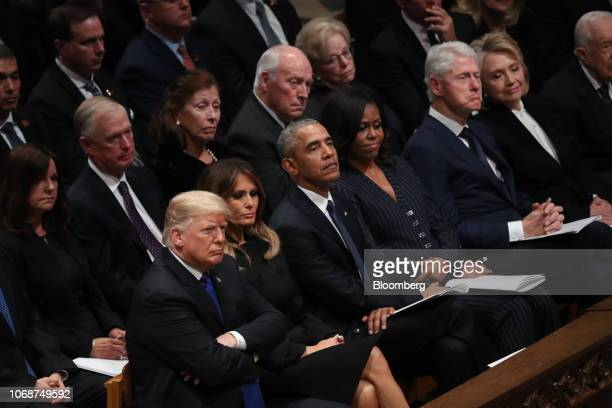 US President Donald Trump first row from left US First Lady Melania Trump former US President Barack Obama former US First Lady Michelle Obama former...