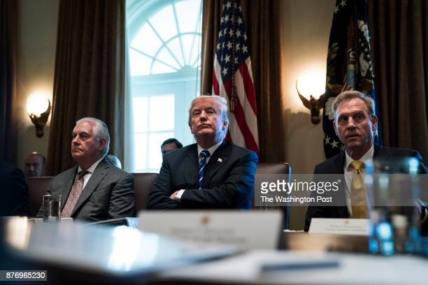 President Donald Trump flanked by Secretary of State Rex Tillerson and Deputy Secretary of Defense Patrick Shanahan announces that the United States...